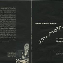 """Jean Cocoteau, """"Notes autour d'une anamorphose : un phénomène de réflexion"""", présentation par Aimé Michel, Le Monde et la vie, n° 95, avril 1961."""