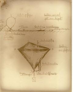 Croquis de ballon tétraédrique, Robert Régipa (1961)