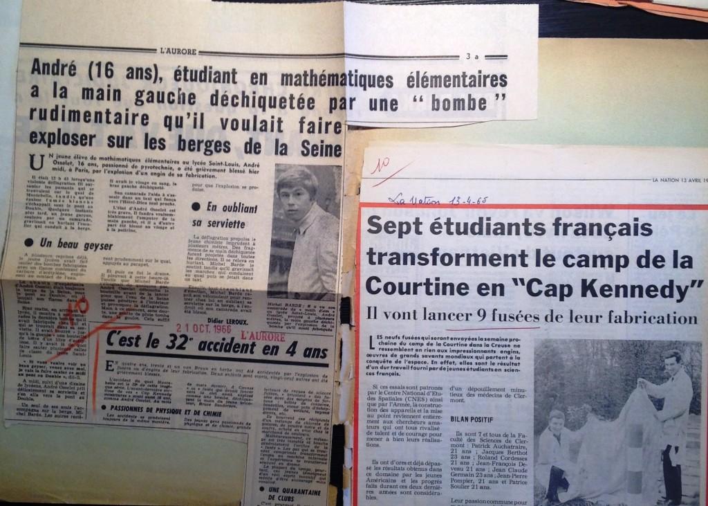 Les activités astronautiques des jeunes, entre danger et triomphalisme (coupures de presse conservées dans le carton 19990426/46 du ministère de l'intérieur, versé aux archives nationales).