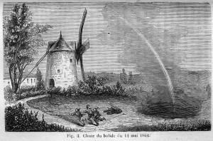 Représentation (gravure) de la chute de la météorite d'Orgueil, en 1864 ― CC0