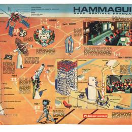 """Pilotorama du magazine Pilote n°340 de 1966, """"Hammaguir base spatiale française"""" par Murtin"""